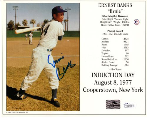 Ernie Banks Autographed Chicago Cubs (Hall of Fame Induction) 8×10 Photo Card – JSA