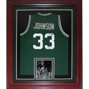 Magic Johnson Autographed Michigan State Spartans (Green #33) Deluxe Framed Jersey - PSA