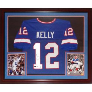 Jim Kelly Autographed Buffalo Bills (Blue #12) Deluxe Framed Jersey - Kelly Holo