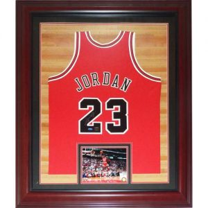 Michael Jordan Autographed Chicago Bulls (Red #23) Deluxe Framed M Ness Jersey - UDA