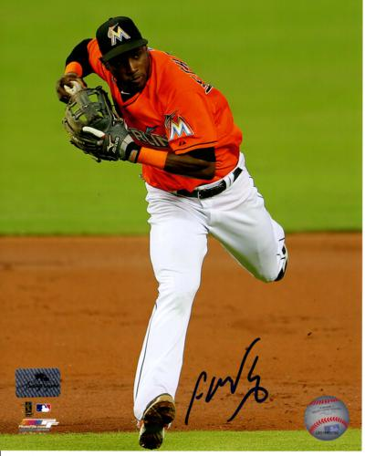 Adeiny Hechavarria Autographed Miami Marlins (Fielding) 8x10 Photo
