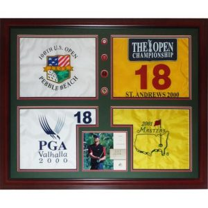 Tiger Woods Autographed Tiger Slam Deluxe Framed Piece - 2000 US Open , British Open , PGA Championship , 2001 Masters