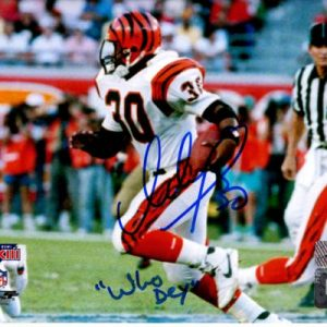 "Ickey Woods Autographed Cincinnati Bengals (Super Bowl) 8x10 Photo w/ ""Who Dey"""