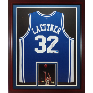 """9124161d78a Christian Laettner Autographed Duke Blue Devils (Blue  32) Deluxe Framed  Jersey w  """"91   92 NCAA Champs"""""""