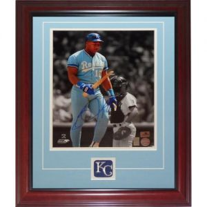 Bo Jackson Autographed Kansas City Royals (Breaking Bat Spotlight) Deluxe Framed 11x14 Photo with Patch - Jackson Holo