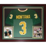 Joe Montana Autographed Notre Dame Fighting Irish (Green #3) Deluxe Framed Jersey – Montana Holo