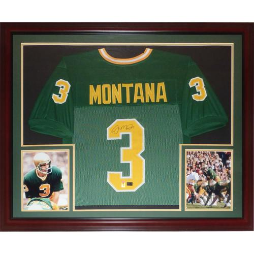 hot sale online d3a2a 12b05 Joe Montana Autographed Notre Dame Fighting Irish (Green #3) Deluxe Framed  Jersey - Montana Holo