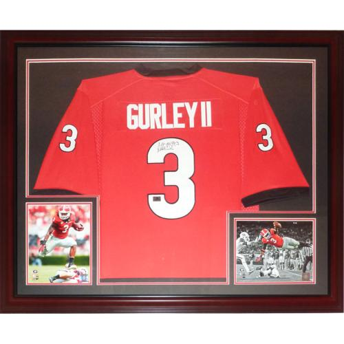 san francisco 363ed 05f63 Todd Gurley Autographed Georgia Bulldogs (Red #3) Deluxe Framed Jersey