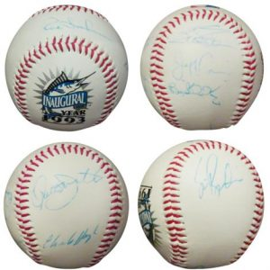 1993 Florida Marlins Team Autographed Inaugural Year Baseball - 7 Signatures
