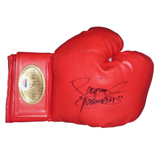 """Manny Pacquiao Autographed Team Pacquiao Red Boxing Glove w/ """"Pacman"""" - PSADNA"""