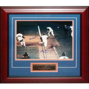 """Mookie Wilson and Bill Buckner Dual Autographed (1986 World Series) Deluxe Framed 11x14 Photo w/ Nameplate - """"10-25-86"""""""