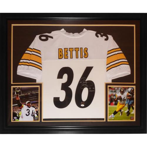 """cf6060ecaf7 Jerome Bettis Autographed Pittsburgh Steelers (White #36) Deluxe Framed  Jersey w/ """"SB XL Champs"""" – JSA"""