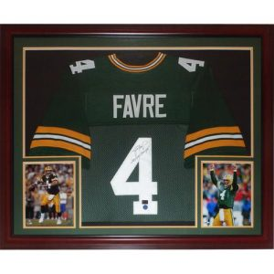 "Brett Favre Autographed Green Bay Packers (Green #4) Deluxe Framed Jersey w/ ""SB XXXI Champs"" - Favre Holo"