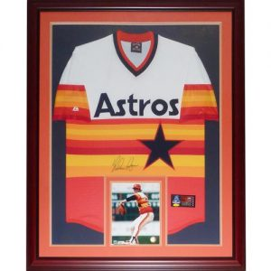 Nolan Ryan Autographed Houston Astros (Rainbow Throwback) Deluxe Framed Majestic Jersey - TriStar