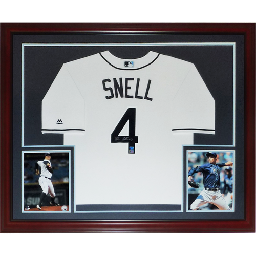 sports shoes cff10 ae231 Blake Snell Autographed Tampa Bay Rays (White #4) Deluxe Framed Majestic  Jersey - MLB