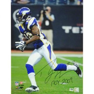 "Percy Harvin Autographed Minnesota Vikings (Purple Jersey) 16x20 Photo w/ ""ROY 2009"""