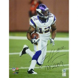 """Percy Harvin Autographed Minnesota Vikings (White Jersey) 16x20 Photo w/ """"ROY 2009"""""""