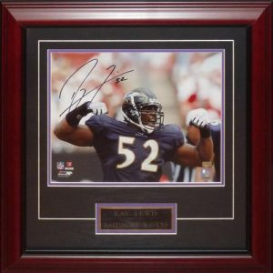 Ray Lewis Autographed Baltimore Ravens (Flexing) Deluxe Framed 11x14 Photo