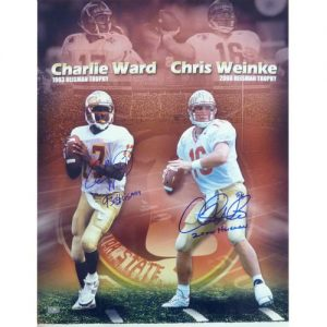 "Charlie Ward and Chris Weinke Autographed FSU Florida State Seminoles 16x20 Photo w/ ""93 Heisman"" , ""2000 Heisman"""