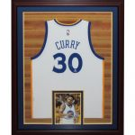 Stephen Curry Autographed Golden State Warriors (White #30 Swingman) Deluxe Framed Jersey – Fanatics