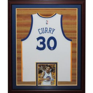 Stephen Curry Autographed Golden State Warriors (White #30) Deluxe Framed Swingman Jersey - Fanatics