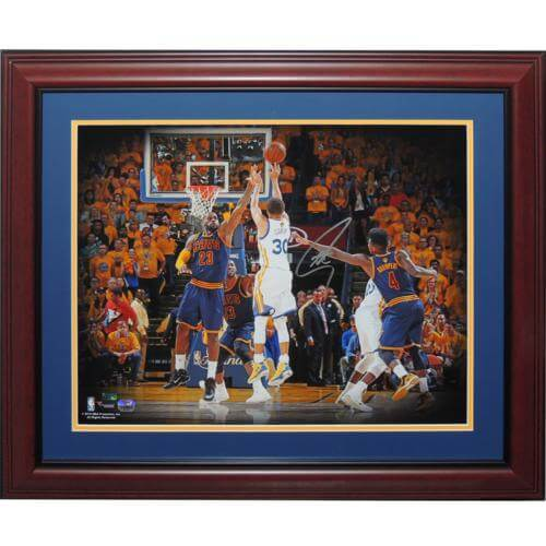 008986af7f6 Stephen Curry Autographed Golden State Warriors (NBA Finals vs LeBron  James) Deluxe Framed 16×20 Photo – Fanatics