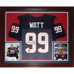 J.J. Watt Autographed Houston Texans (Blue #99) Deluxe Framed Jersey – JSA