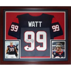 J.J. Watt Autographed Houston Texans (Blue #99) Deluxe Framed Jersey - JSA