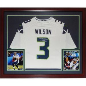 Russell Wilson Autographed Seattle Seahawks (White #3) Deluxe Framed Nike Jersey - RW Holo