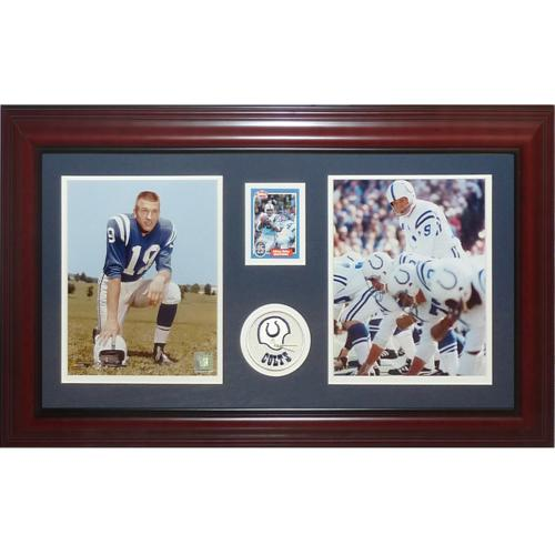 Johnny Unitas Autographed Baltimore Colts Deluxe Framed Tribute Card Piece - JSA