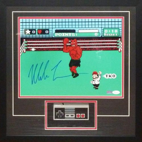 Mike Tyson Autographed Boxing (Nintendo Punchout) 11x14 Photo Deluxe Framed Shadowbox with NES Controller - JSA