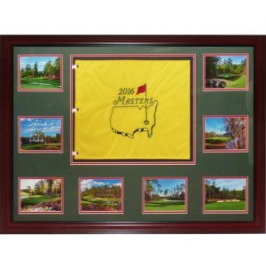 2016 Masters Deluxe Framed Golf Pin Flag with Augusta National Postcards
