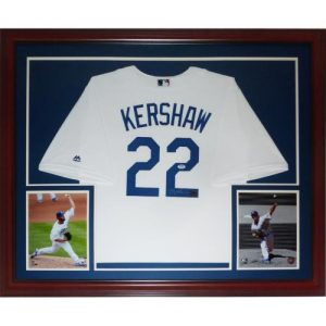 Clayton Kershaw Autographed Los Angeles Dodgers (White #22) Deluxe Framed Jersey - PSADNA