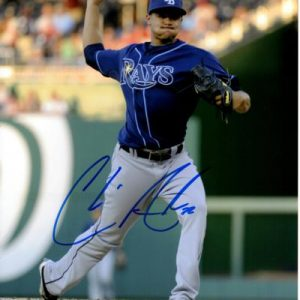 Chris Archer Autographed Tampa Bay Rays (Blue Jersey) 8x10 Photo