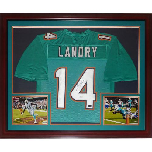 factory price 07028 ec734 Jarvis Landry Autographed Miami Dolphins (Teal #14) Deluxe Framed Jersey -  JSA