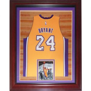 KobeBryant Autographed Los Angeles Lakers (Yellow #24) Deluxe Framed Swingman Jersey - Panini