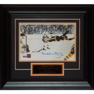 Bobby Orr Autographed Boston Bruins (Flying Goal) Deluxe Framed 8x11 Photo with Nameplate - Orr Holo