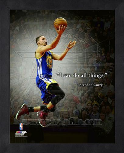 "Stephen Curry Golden State Warriors (Blue Jersey Layup) Framed 11x14 ""Pro Quote"" #3"