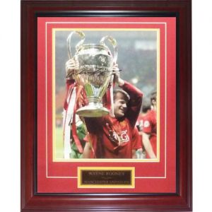 Wayne Rooney Autographed Manchester United (Trophy) Deluxe Framed 12x16 Photo - Icons