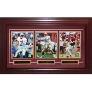 Charlie Ward, Chris Weinke And Jameis Winston Autographed FSU Florida State Seminoles Deluxe Framed Triple Heisman Piece