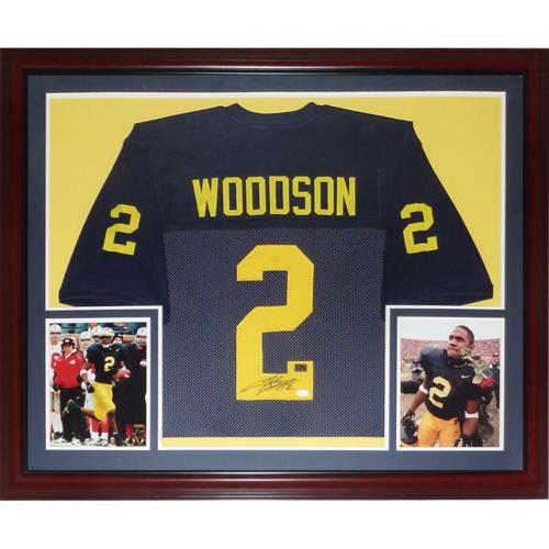 super popular f9f87 e4037 Charles Woodson Autographed Michigan Wolverines (Blue #2) Deluxe Framed  Jersey