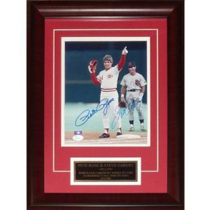Pete Rose And Steve Garvey Autographed Cincinnati Reds (4121 Hit) Deluxe Framed 8x10 Photo - JSA