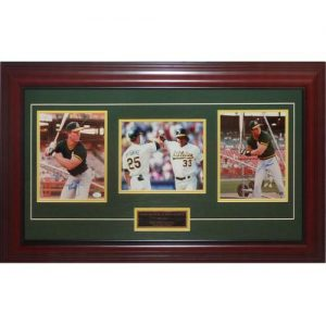 Mark McGwire And Jose Canseco Dual Autographed Oakland A's (Bash Brothers) Deluxe Framed Triple 8x10 Photo Piece - JSA