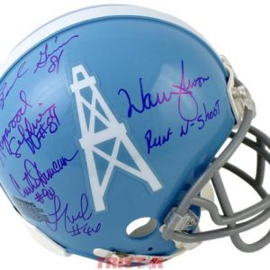 Houston Oilers Run And Shoot Autographed (Throwback Blue) Mini Helmet - Warren Moon Plus 4 Signatures - TriStar