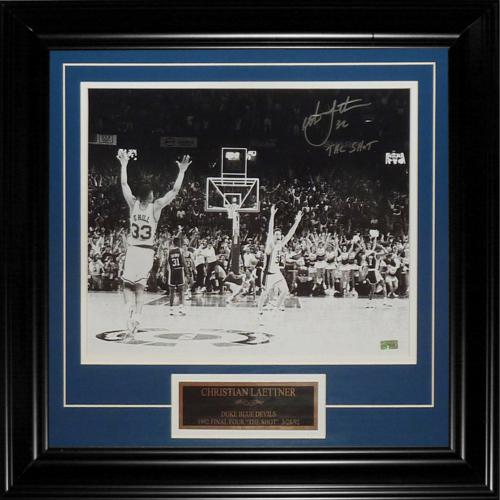 "Christian Laettner Autographed Duke Blue Devils (The Shot Celebration Horiz BW) Deluxe Framed 11x14 Photo w/ ""The Shot"""