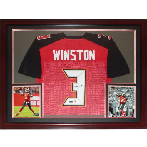Jameis Winston Autographed Tampa Bay Buccaneers (Red #3) Deluxe Framed Jersey - JSA