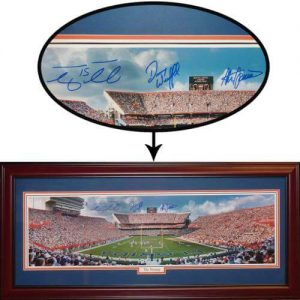 Steve Spurrier , Danny Wuerffel , Tim Tebow Autographed Florida Gators (The Swamp) Deluxe Framed Panoramic Photo
