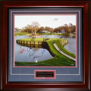 The Players Championship TPC Winners Autographed Sawgrass #17 Deluxe Framed 16x20 Photo with Nameplate - 13 Signatures - Jack Nicklaus
