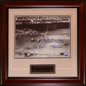 """Ralph Branca and Bobby Thomson Dual Autographed """"Shot"""" (Horizontal Dotted Line) Deluxe Framed 11x14 Photo w/ Inscription , Date"""