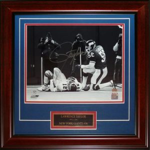 Lawrence Taylor Autographed New York Giants (over Cunningham) Deluxe Framed 11x14 Photo